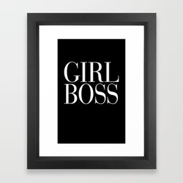 Girl Boss Black Vogue Typography Framed Art Print