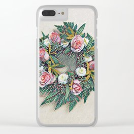 Rose Ring in pink, white, yellow and green Clear iPhone Case