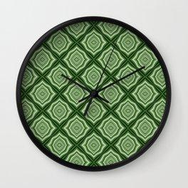 Diamond Pattern in Green Wall Clock