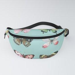 Watercolor Butterflies on Aqua Fanny Pack