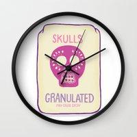 sugar skulls Wall Clocks featuring Sugar Skulls by Deesign