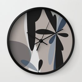 Abstract Geometric Objects Black Greige Wall Clock