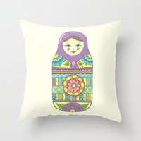 russian Throw Pillows featuring Russian Doll by haleyivers