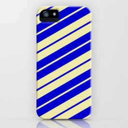 Pale Goldenrod and Blue Colored Pattern of Stripes iPhone Case