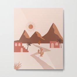 Red Houses In Desert Modern Boho Metal Print