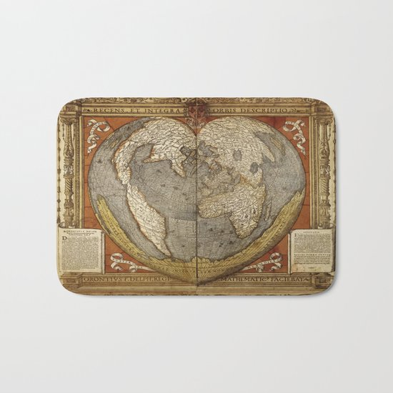 Heart-shaped projection map by Oronce Fine, 16th century Bath Mat
