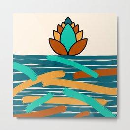 Stripes and Lotus Flower Metal Print