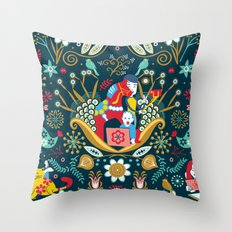 Technological folk art Throw Pillow