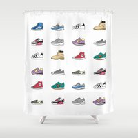 vans Shower Curtains featuring Kicks by Bianca Beers