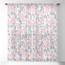 Wistful Floral - Coral and blue Sheer Curtain