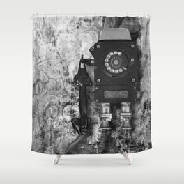 The old phone Shower Curtain