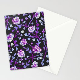 Watercolor Peonies - Black & Violet Stationery Cards