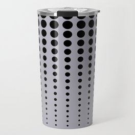 Reduced Black Polka Dots Pattern on Solid Pantone Lilac Gray Background Travel Mug