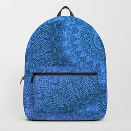 Sunflower Feather Bohemian Cool Blue Pattern \\ Aesthetic Vintage \\ Ice Snow Aqua Color Scheme Backpack