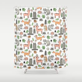 Woodland foxes rabbits deer owls forest animals cute pattern by andrea lauren Shower Curtain