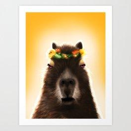 Capybara Shining Art Print