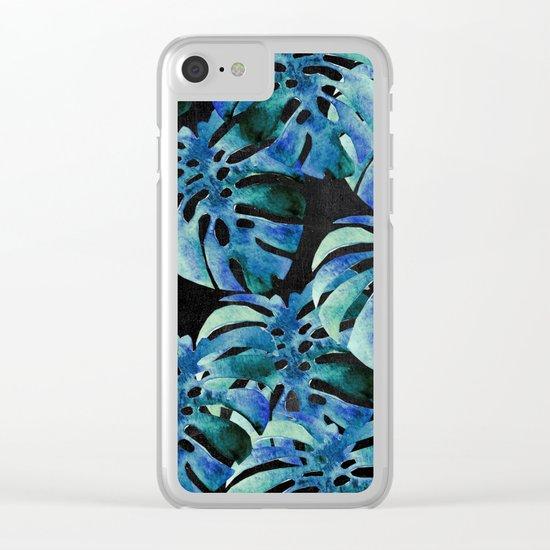 Monstera Pattern Blue On Chalkboard Clear iPhone Case