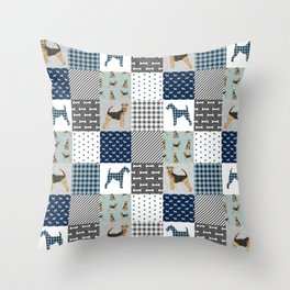 Airedale Terrier Cheater Quilt -  patchwork, airedale, dog, blanket, cute design Throw Pillow