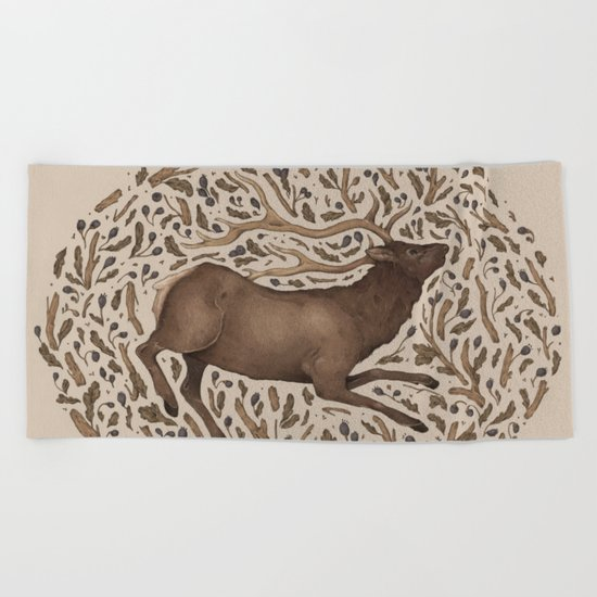 Elk in Nature Beach Towel