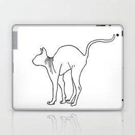 Sphynx Cat Arching Its Back - Naked Cat -  Simple Line - Minimal Laptop & iPad Skin
