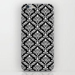 Prima Damask Pattern White on Black iPhone Skin