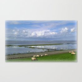 On the dike Canvas Print