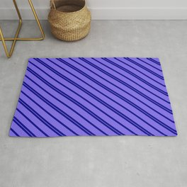 Dark Blue & Medium Slate Blue Colored Lines/Stripes Pattern Rug