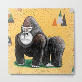 Endangered Rainforest Mountain Gorilla Metal Print
