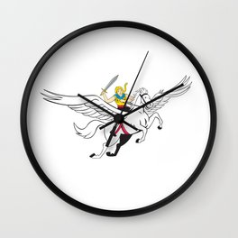 Valkyrie Amazon Warrior Flying Horse Cartoon Wall Clock