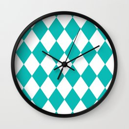 Diamonds (Tiffany Blue/White) Wall Clock