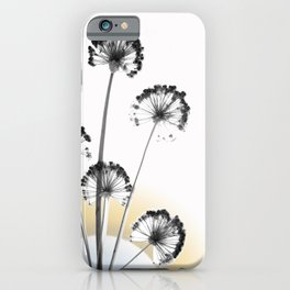 black and white flower wallpaper and the sun, flower decor, printable art iPhone Case