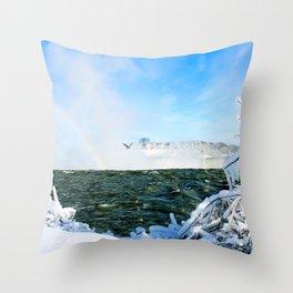 Ice in Niagara Throw Pillow