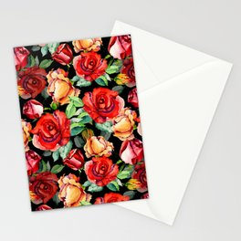 Hand painted black red watercolor roses floral Stationery Cards