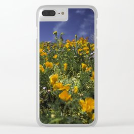 Orange Poppies on the Hill Side Clear iPhone Case