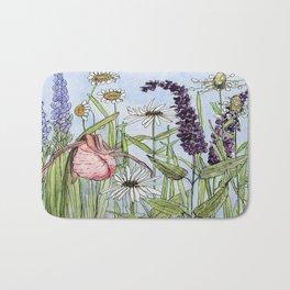Lady Slipper Orchid Woodland Wildflower Watercolor Bath Mat