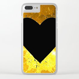 Yellow Watercolor splashed heart texture Clear iPhone Case