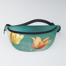 Teal Orange Nature Photography, Turquoise Yellow Tulips Photo, Aqua Teal Green Flower Art Print Fanny Pack