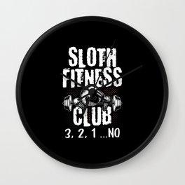 Sloth Fitness Club Sports Muffle Wall Clock