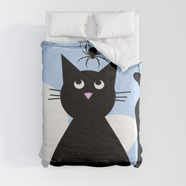 Whimsical Black Cat and Flowers Comforters
