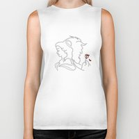 beauty and the beast Biker Tanks featuring Beauty And Beast BW by alexa