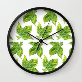 Fresh Green Leaves Wall Clock