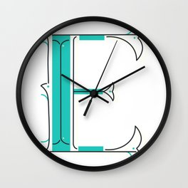 Drop Cap E - decorative letter - typography - monogram - capital Wall Clock