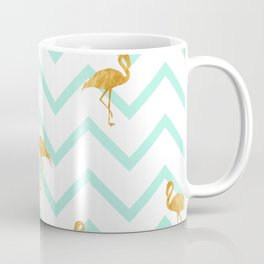Golden Flamingo on Zigzag Line Background Coffee Mug