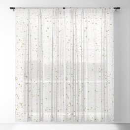 Pretty White and Gold Speckled Pattern Sheer Curtain