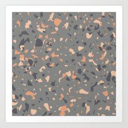 Coral and Gray Terrazzo Pattern Art Print