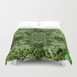 SEA FOAM FROTHY BLUE-GREEN SUCCULENTS Duvet Cover