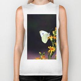 White Butterfly on Yellow Flowers Biker Tank