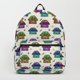 Hand Painted Watercolor Milky Way Roof Top Houses Backpack