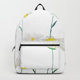 white daisy watercolor horizontal Backpack