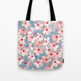 Shabby Chic Hibiscus Patchwork Pattern in Pink & Blue Tote Bag